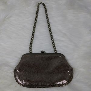 Express evening party metallic chain clutch purse